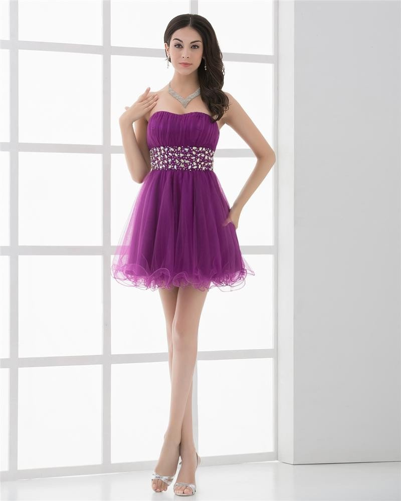 Strapless Beading Mini Length Tulle Woman Homecoming Dresses