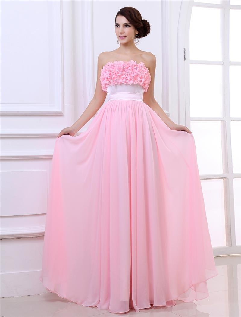 Chiffon Ruffles Flower Strapless Floor Length Graduation Dresses