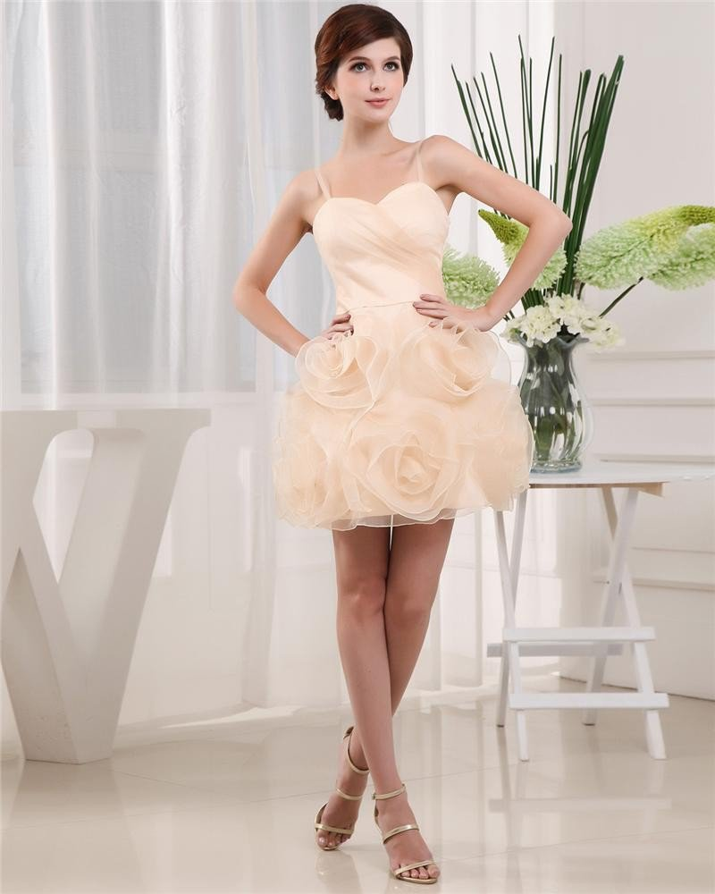 Sweetheart Sleeveless Zipper Mini Length Ruffle Satin Tulle Woman Homecoming Dresses