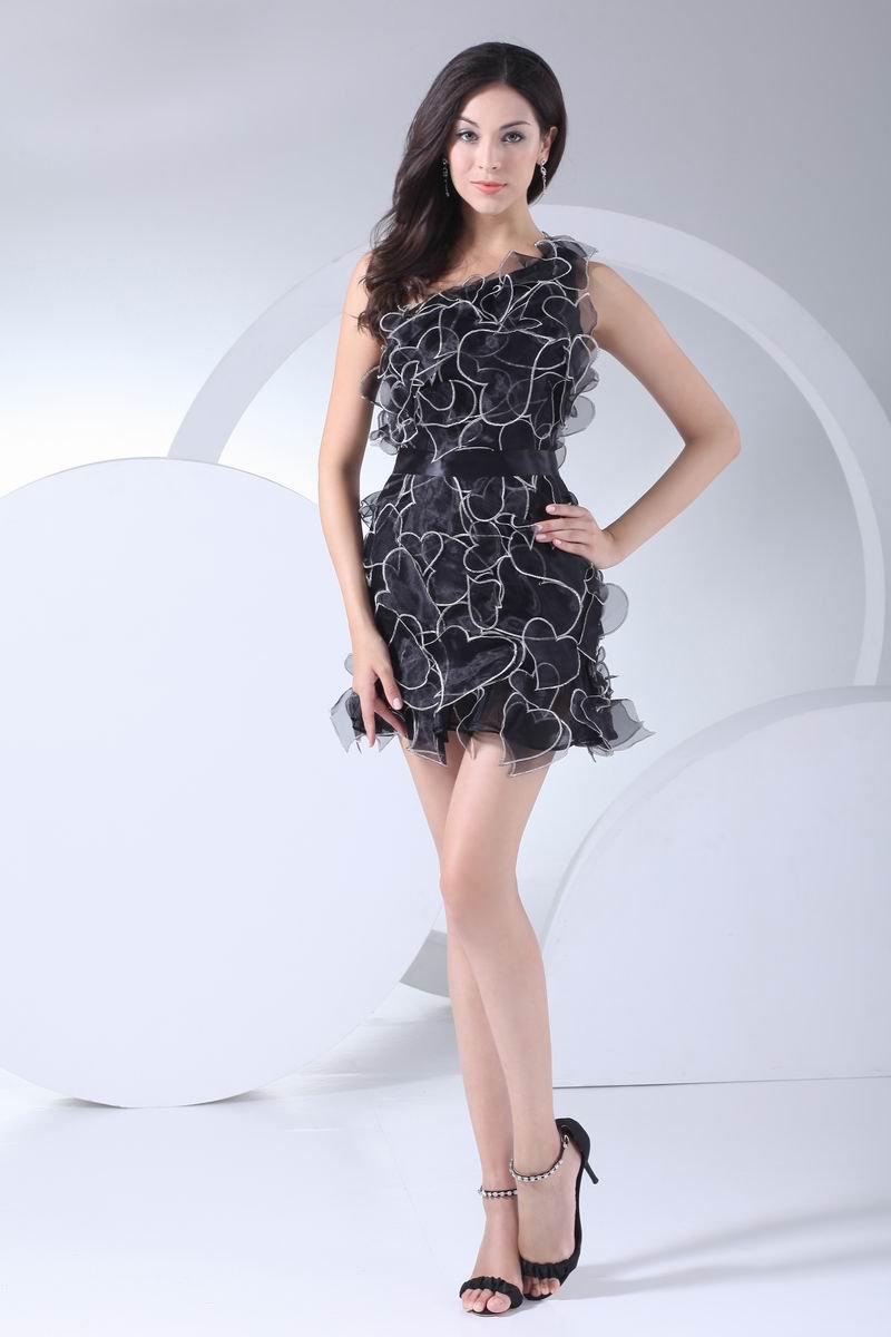 Fashion Organza Satin Ruffle Sloping Thigh Length Graduation Dress