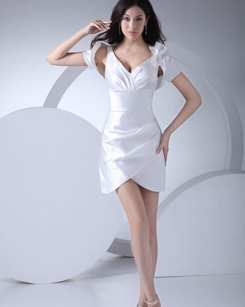 Fashion Silk like Satin Pleated V Neck Thigh Length Graduation Dress