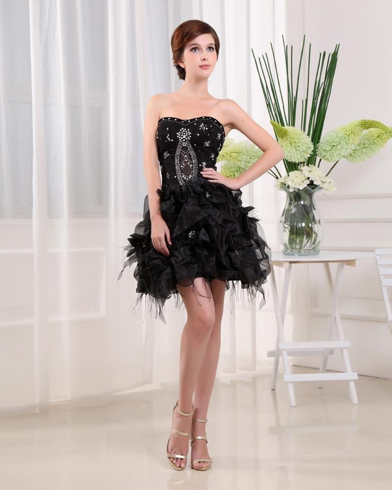 Organza Satin Silk Lace Beadings Sweetheart Sleeveless Backless Zipper Mini Tiered Homecoming Dress
