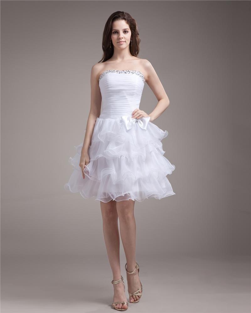 Organza Beaded Ruffle Strapless Thigh Length Graduation Dress