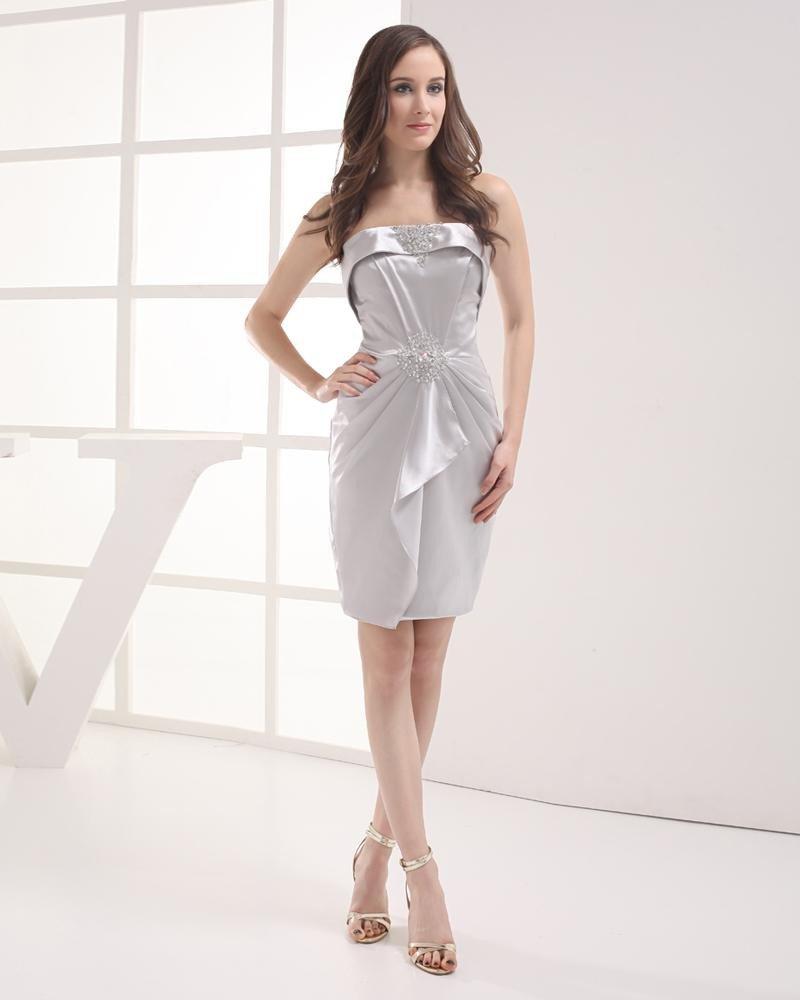 Strapless Beading Ruffle Mini Taffeta Woman Graduation Dress