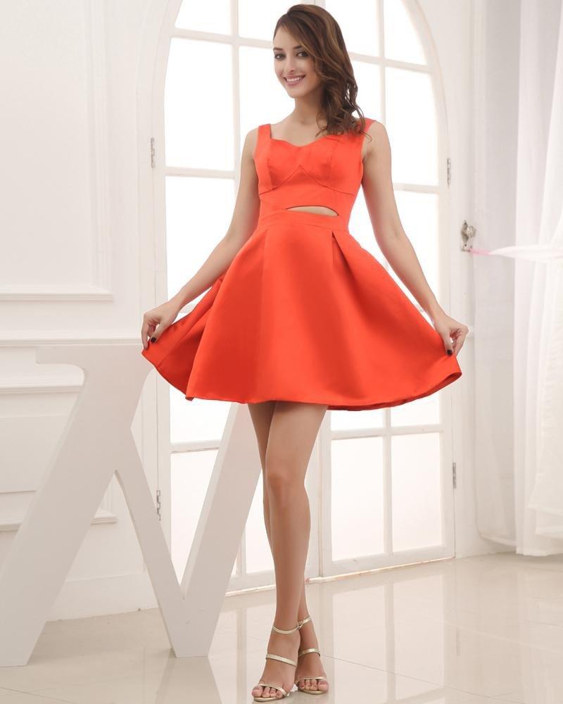 Fashion Satin Silk Shoulder Straps Sleeveless Thigh Length Graduation Dress