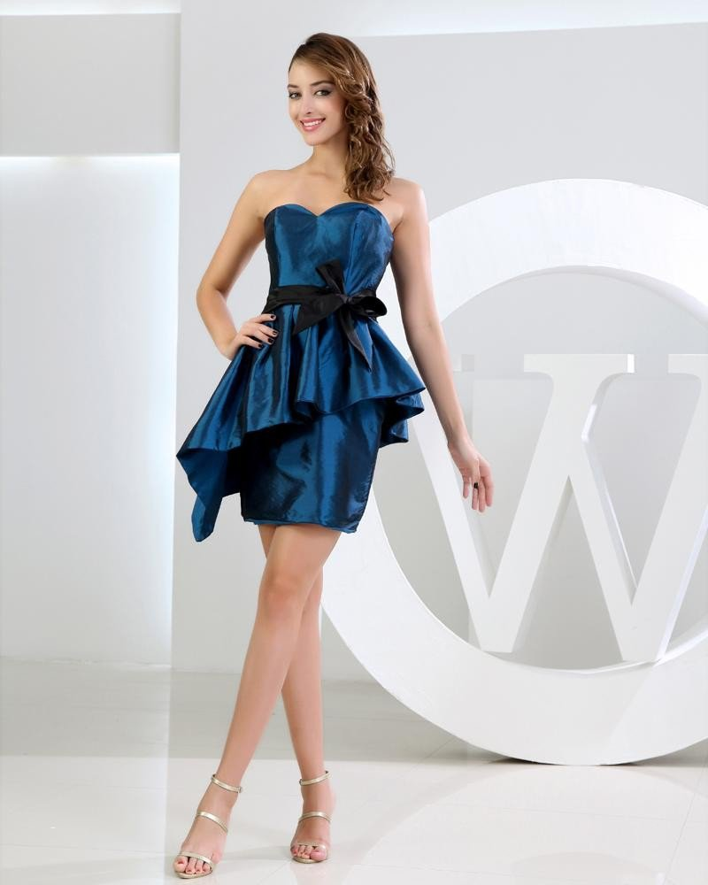 Strapless Zipper Sleeveless Ruffle Belt Bowknot Mini Length Silk Woman Graduation Dress