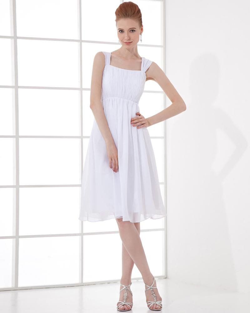 Fashion Chiffon Pleated Square Knee Length Graduation Dress