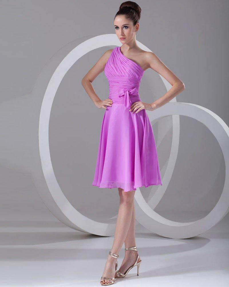 Chiffon Ruffle Bow Sloping Knee Length Women Graduation Dress