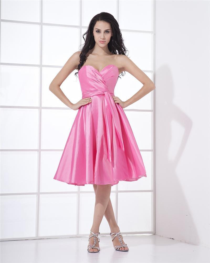 Taffeta Sash Sweetheart Tea Length Graduation Dresses
