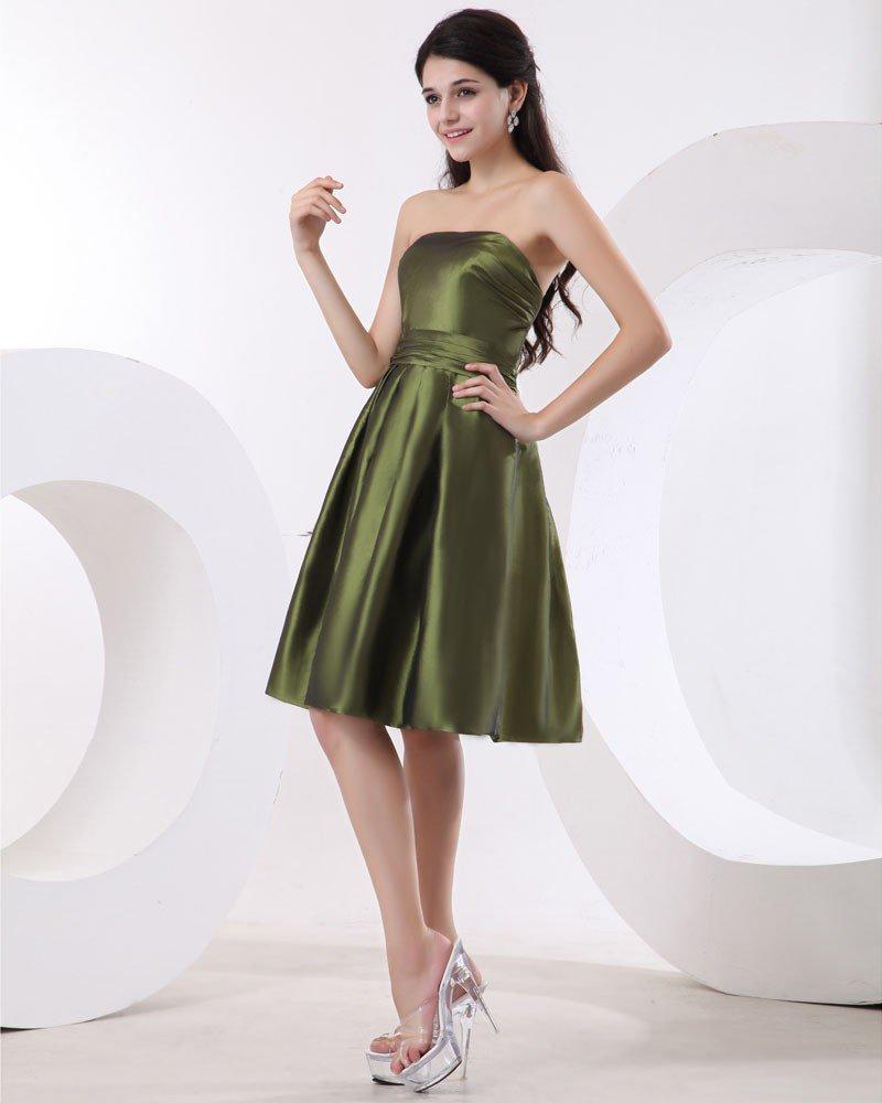 Empire Strapless Sleeveless Knee-length Satin Homecoming Dress