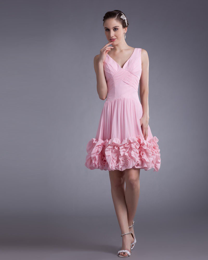 Chiffon Knee Length Ruffle V Neck Flower Women Graduation Dress