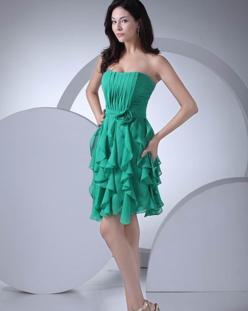 Fashion Chiffon Silk like Satin Pleated Ruffle Flower Strapless Thigh Length Graduation Dress