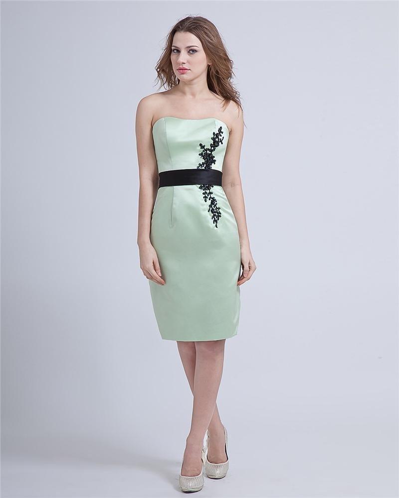 Strapless Satin Handmade Beaded Knee-Length Graduation Dresses