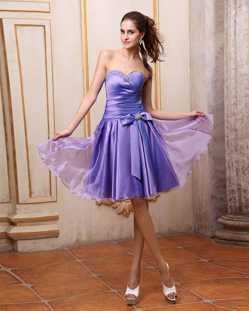 Satin Beading Ruffle Sweetheart Knee Length Cocktail Party Dress