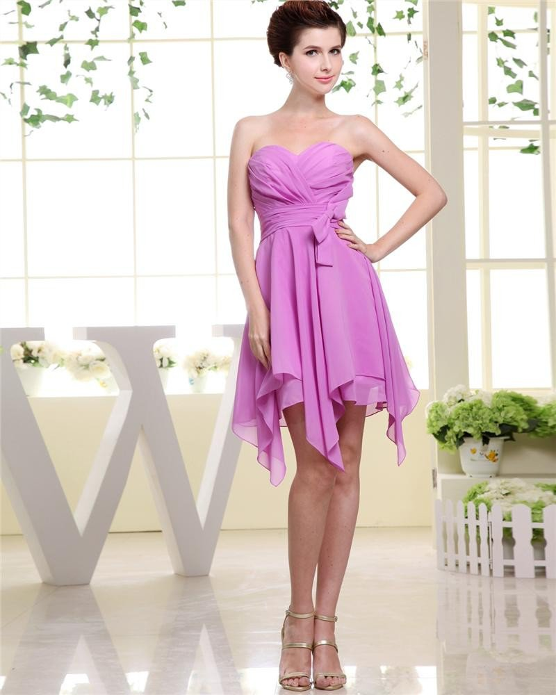 Sweetheart Ruffle Asymmetrical Chiffon Woman Cocktail Party Dress