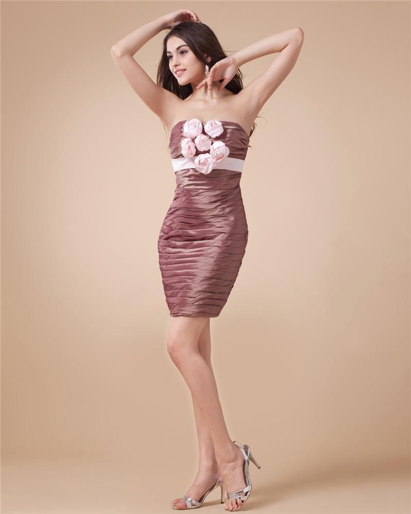 Strapless Taffeta Ruffle Thigh Length Cocktail Party Dresses