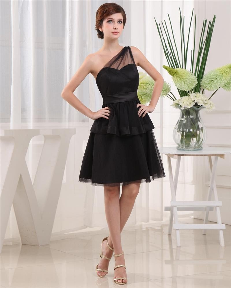 Sloping Neckline Sleeveless Thigh Length Pleated Tulle Woman A-Line Little Black Party Dress