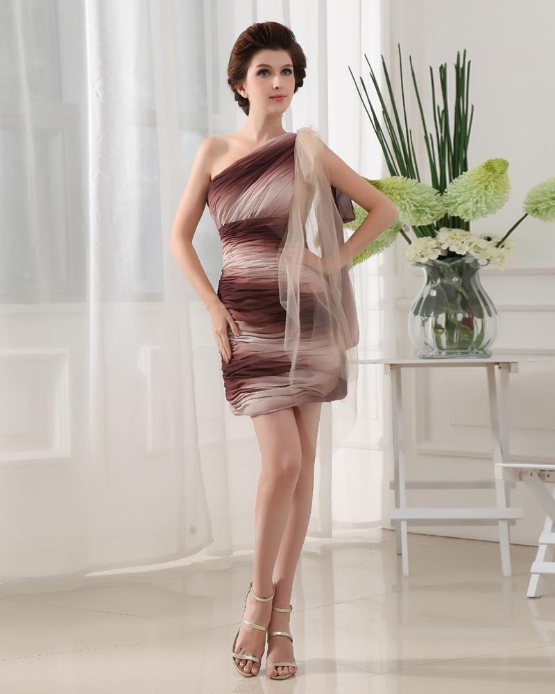 One Shoulder Sleeveless Backless Ruffle Mini Length Chiffon Elastic Silk Like Satin Silk Woman A Lit