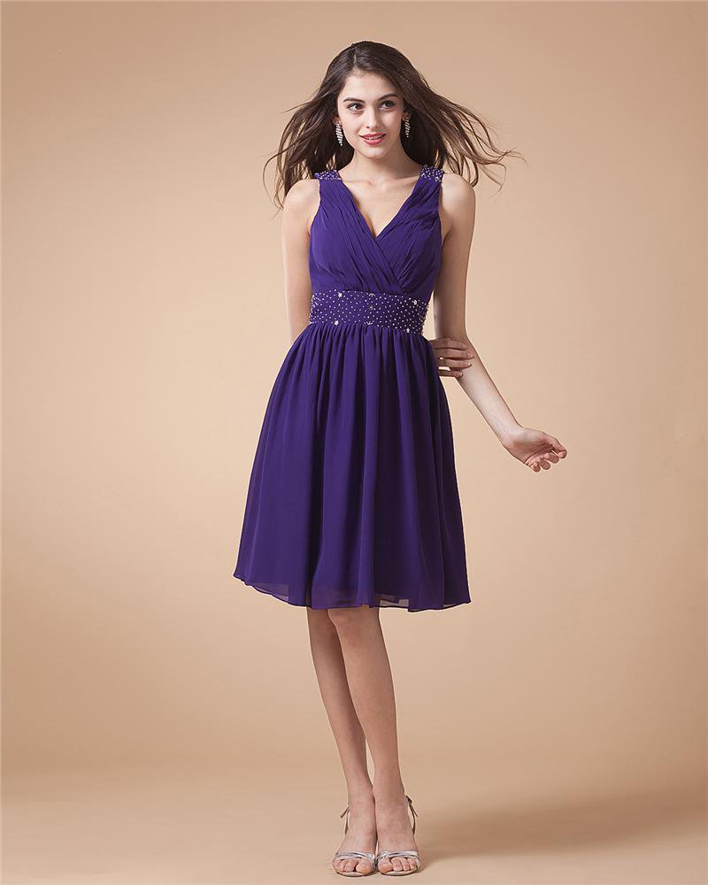 Chiffon V Neck Pleated Ankle Length Cocktail Party Dress