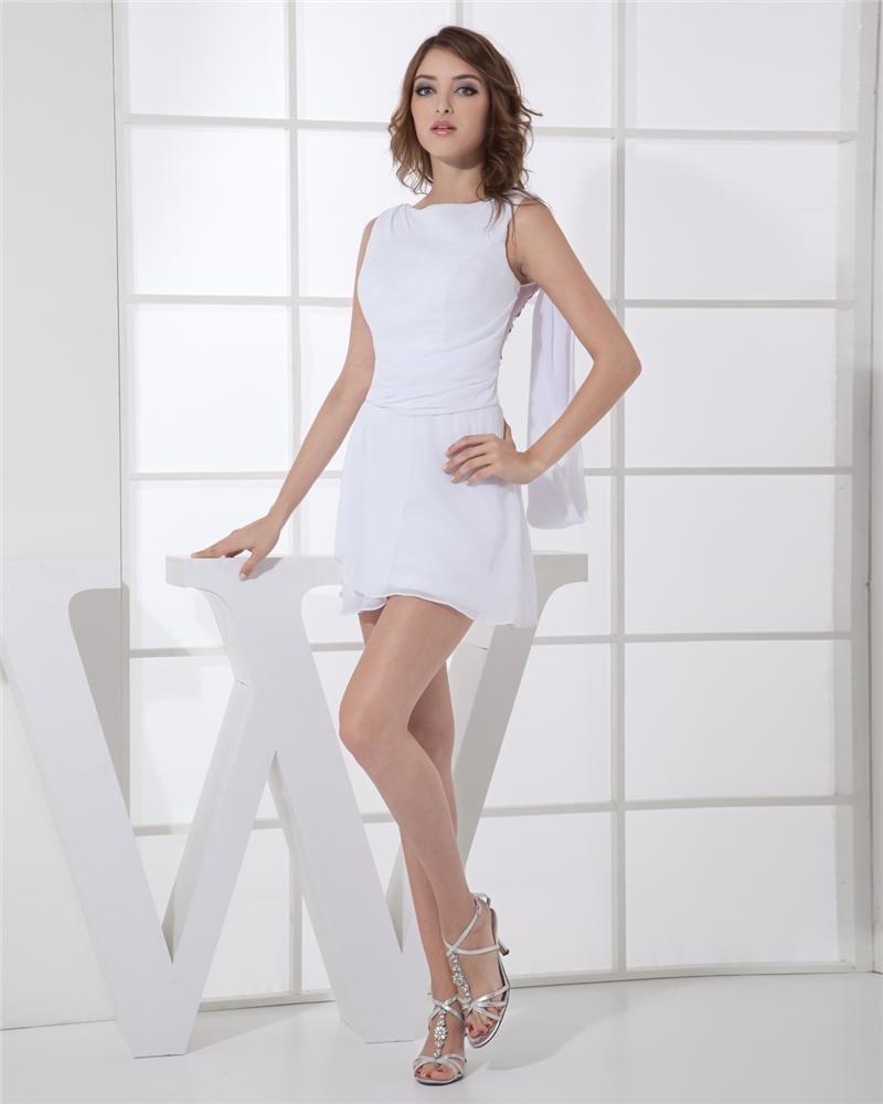 Jewel Mini Sleeveless Sequin Chiffon Woman Cocktail Party Dress
