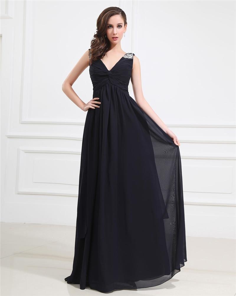 Popular Ruffle Beading Imitated Silk V Neck Floor Length Evening Party Dresses
