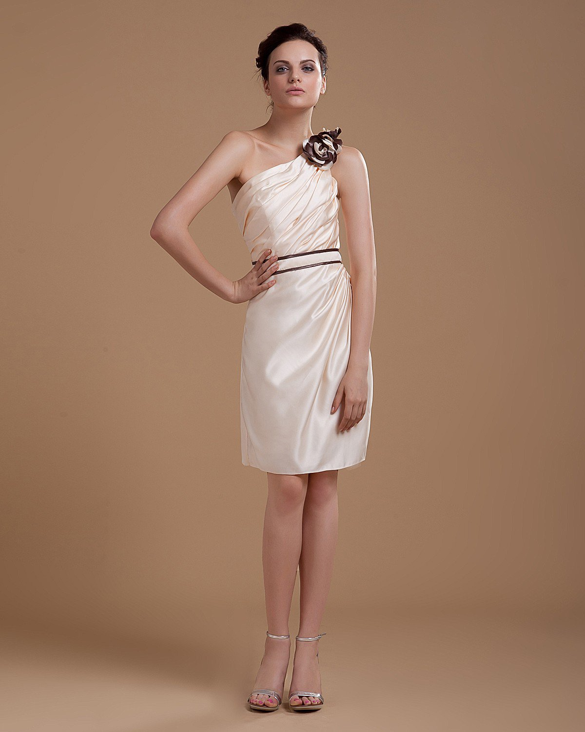 Satin One Shoulder Ruffle Sash Hand Flower Thigh Length Party Dress