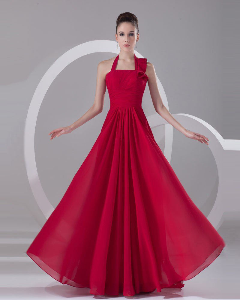 Halter Pleated Floor Length Chiffon Evening Party Dress