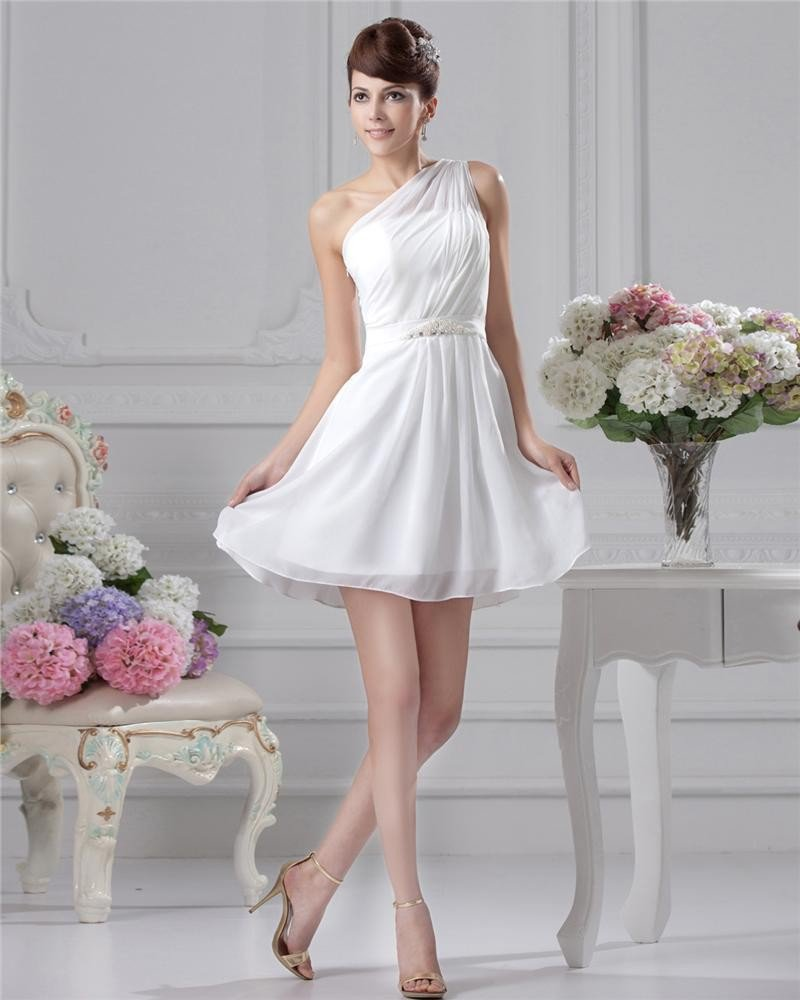 A-Line One Shoulder Knee-Length Chiffon Evening Party Dresses