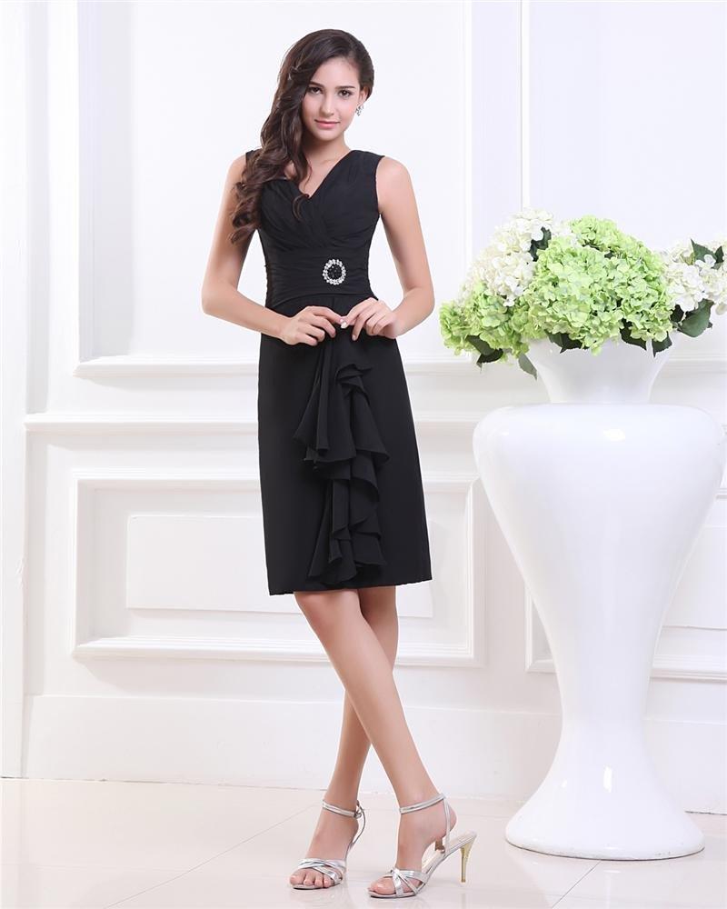Empire Sheath Sleeveless Knee-length Chiffon Little Black Party Dress