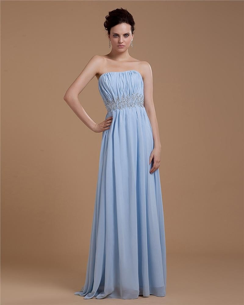 Chiffon Beading Strapless Pleated Floor Length Evening Party Dresses