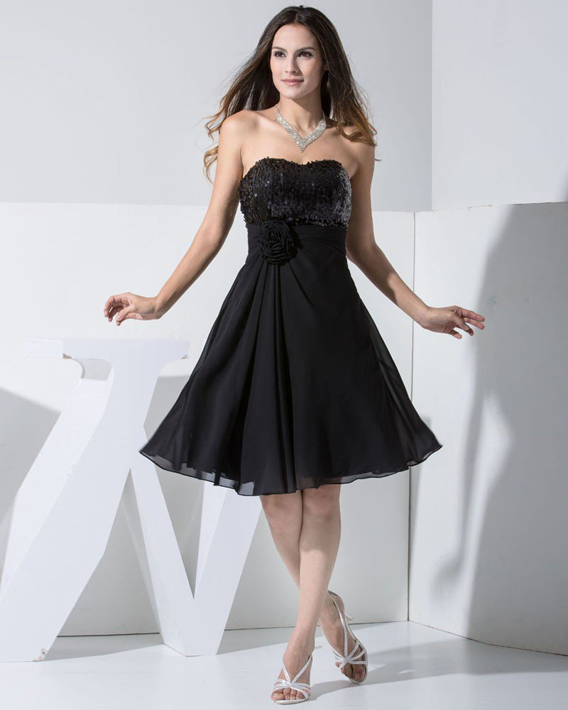 Chiffon Charmeuse Silk Lace Sweetheart Sleeveless Knee Length Little Black Party Dress
