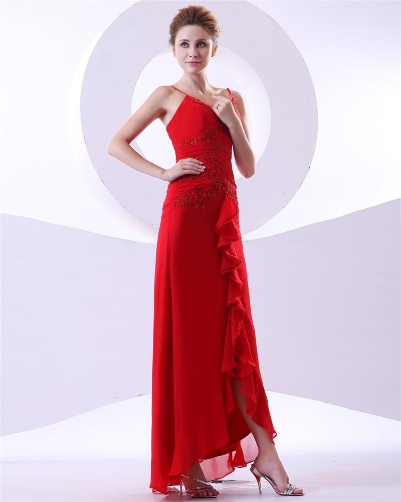 Beaded Shoulder Straps Applique Chiffon Ankle Length Evening Party Dresses