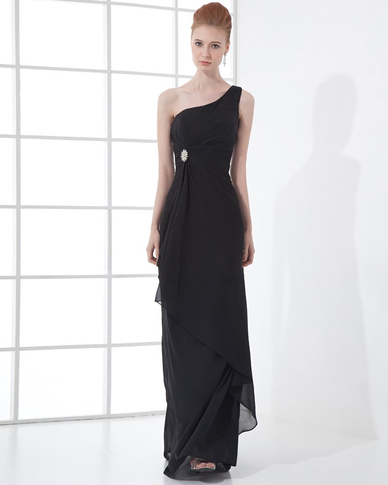 Fashion Chiffon Pleated Beaded One Shoulder Floor Length Evening Party Dress