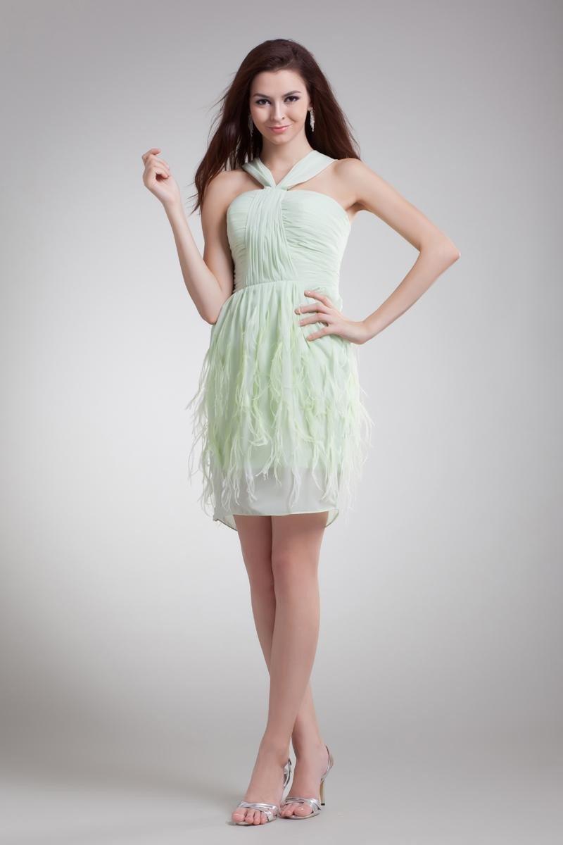 Chiffon Ruffle Feather Shoulder Straps Mini Little Black Party Dress