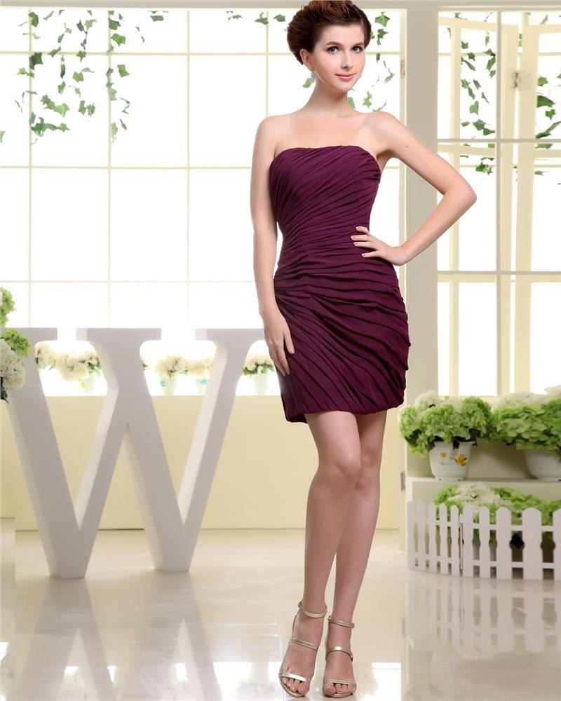 Strapless Neckline Thigh Length Pleat Chiffon A-Line Woman Little Black Party Dress
