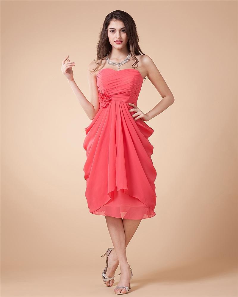 Ruffle Chiffon Sweetheart Knee Length Party Dresses