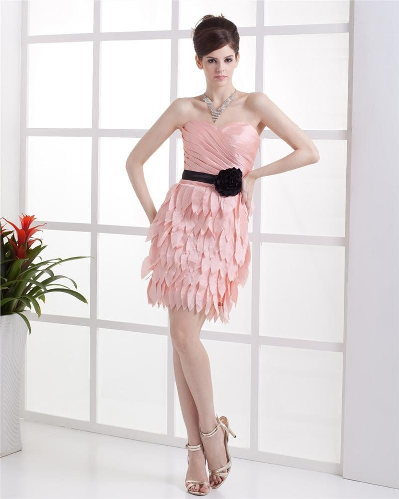 Sweetheart Flower Draped Layered Sleeveless Zipper Mini Length Taffeta Woman Cocktail Party Dress