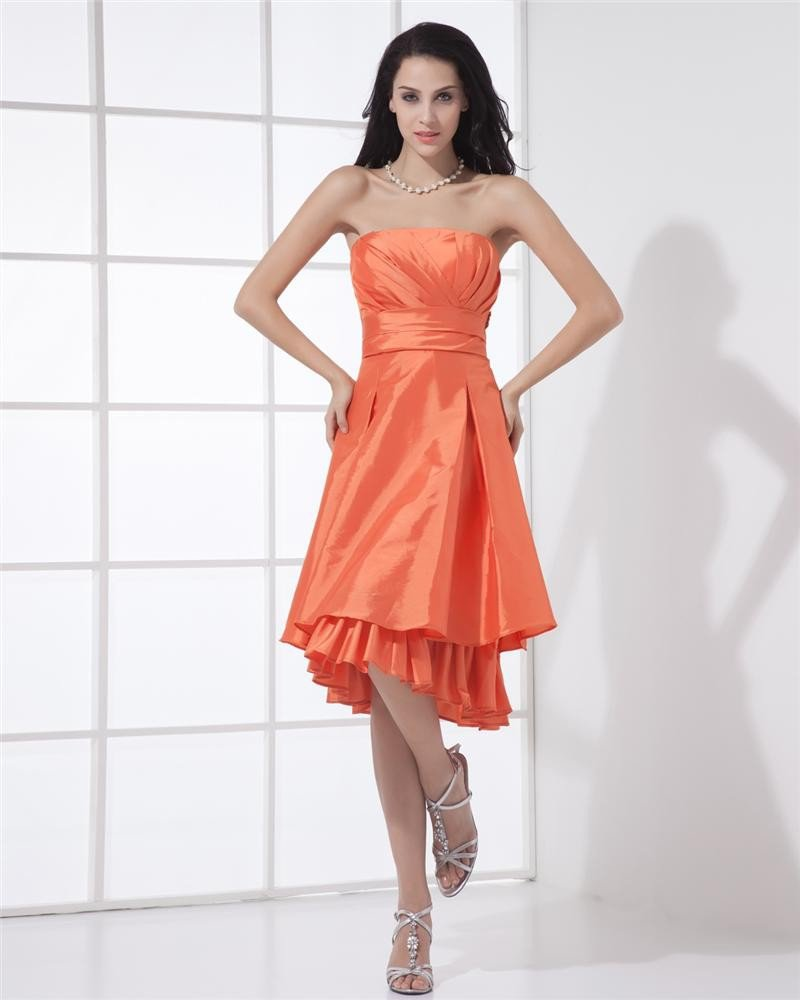 Elegant A-Line Strapless Knee-length Taffeta Evening Party Dress