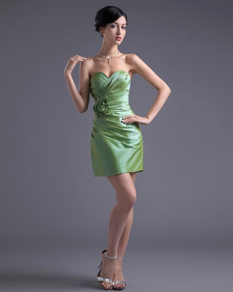 Fashion Taffeta Applique Sweetheart Thigh Length Cocktail Party Dress