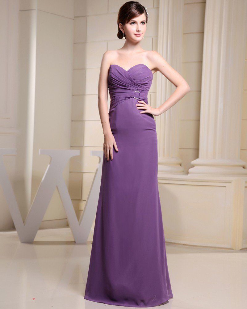 Fashion Chiffon Charmeuse Silk Pleated Sweetheart Sleeveless Floor Length Women Evening Party Dress