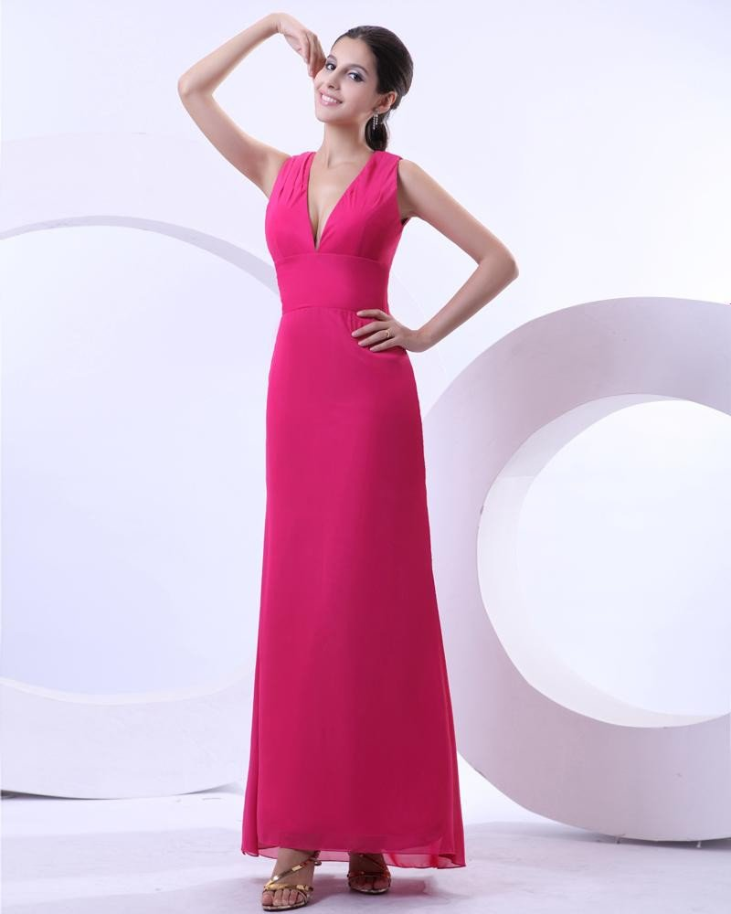 Chiffon V Neck Pleated Floor Length Evening Party Dress