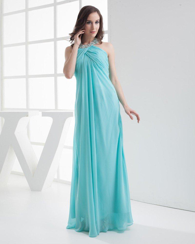Fashion Chiffon Imitation Silk Pleated Beading Halter Floor Length Evening Party Dress