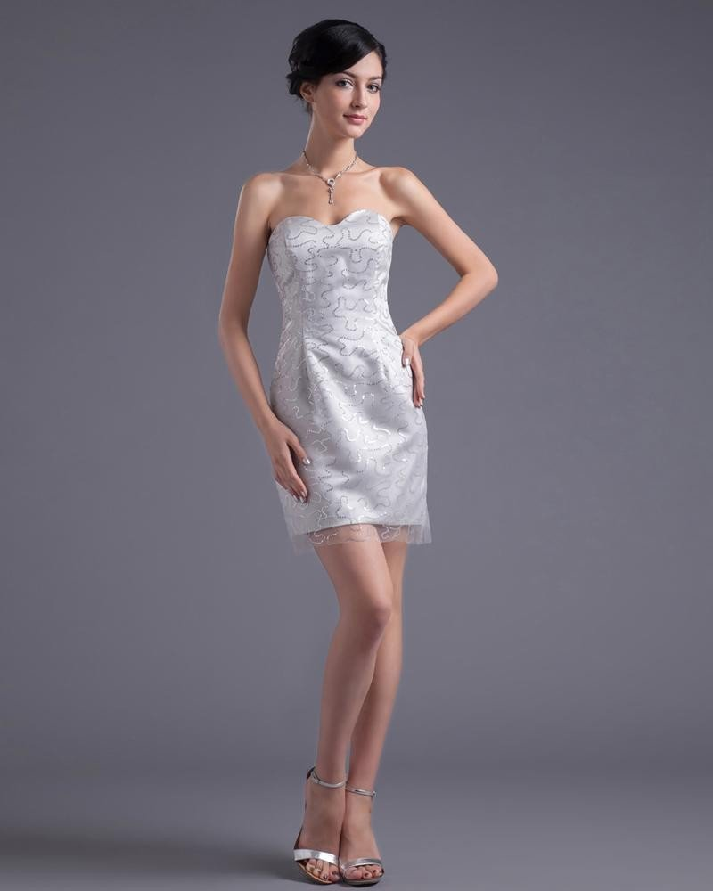 Fashion Satin Yarn Paillette Sweetheart Thigh Length Cocktail Party Dress