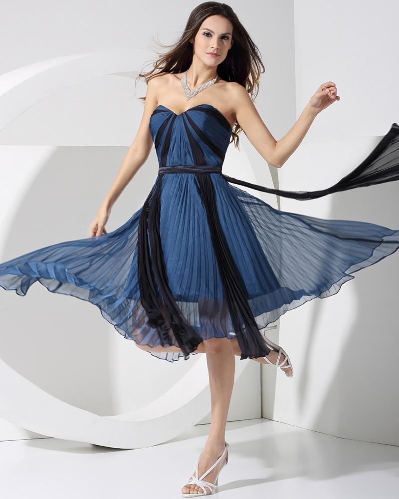 Chiffon Charmeuse Silk Sweetheart Sleeveless Tea Length Little Black Party Dress