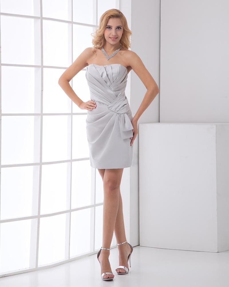 Strapless Neckline Sleeveless Thigh Length Pleated Satin Woman Little Black Party Dress