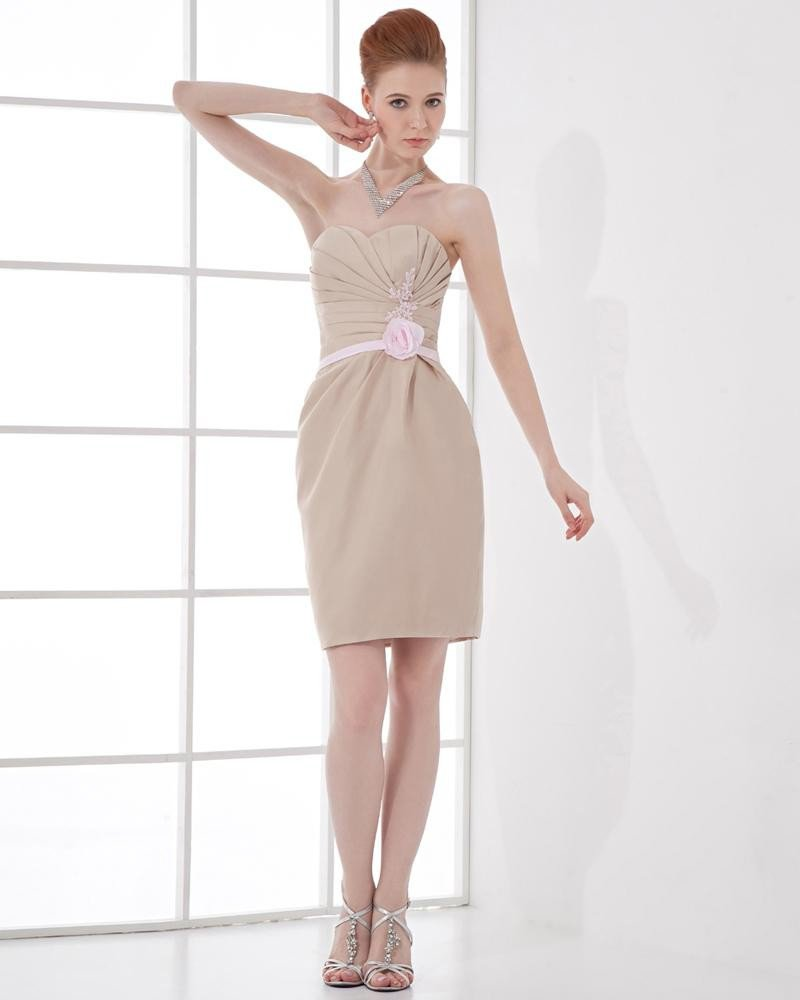 Fashion Satin Pleated Sweetheart Thigh Length Cocktail Party Dress