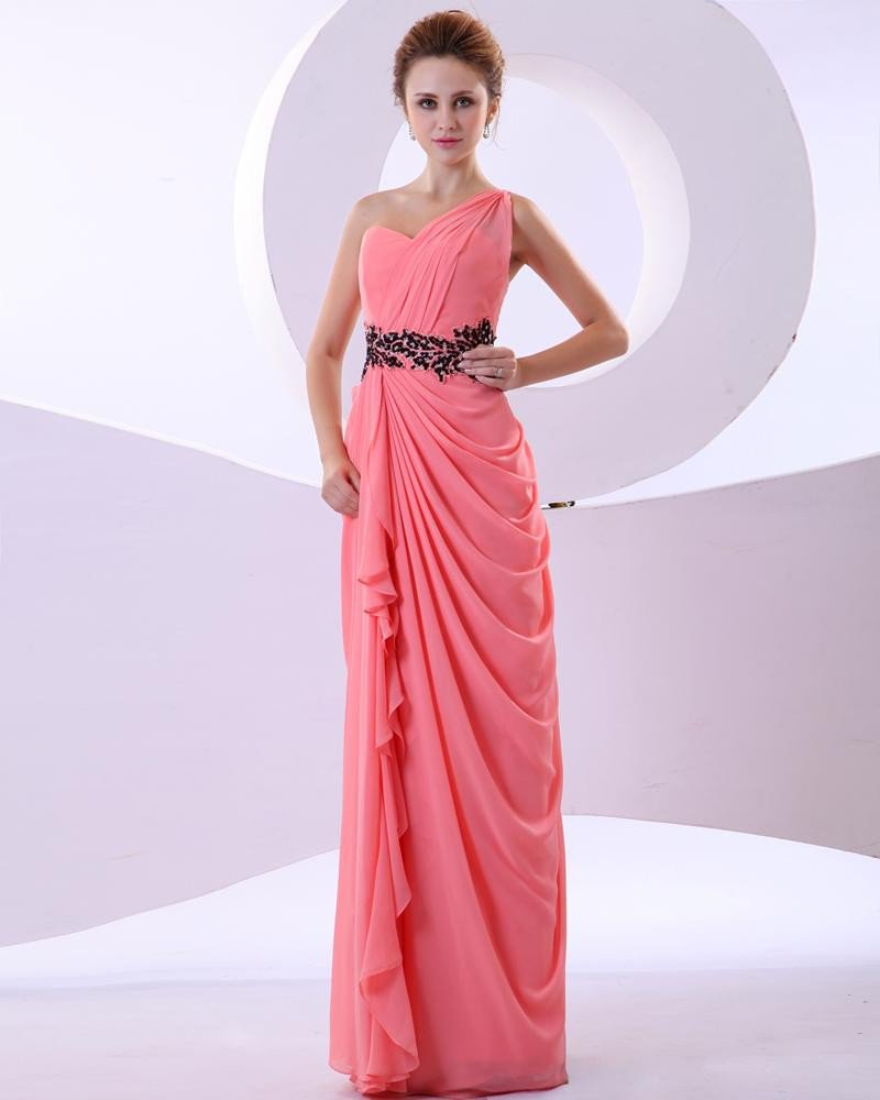 Chiffon Ruffles Beading Applique One Shoulder Floor Length Evening Party Dresses