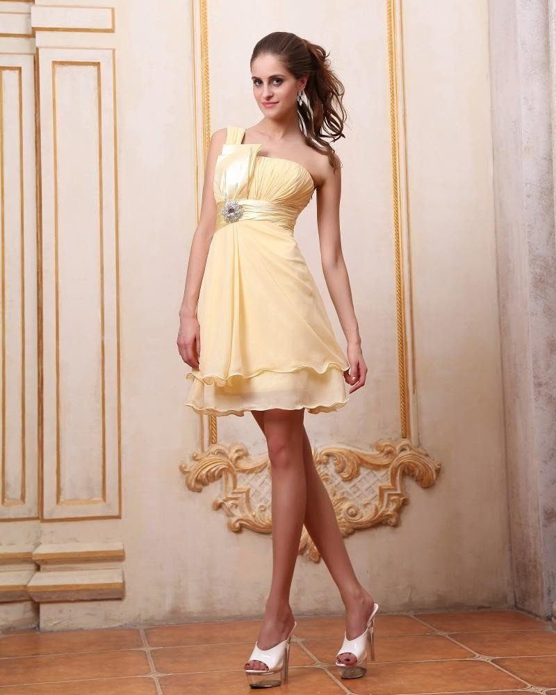Elegant Ruffle One Shoulder Knee Length Cocktail Party Dress