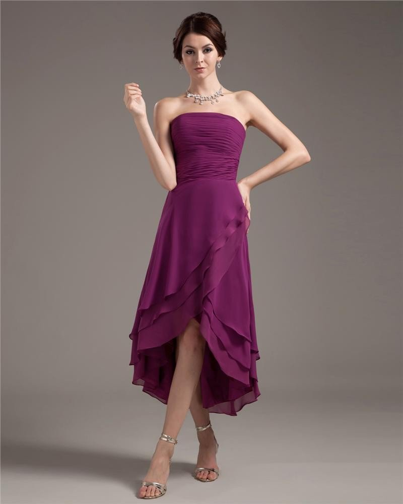 Chiffon Ruffles Pleated Strapless Tea Length Cocktail Party Dresses