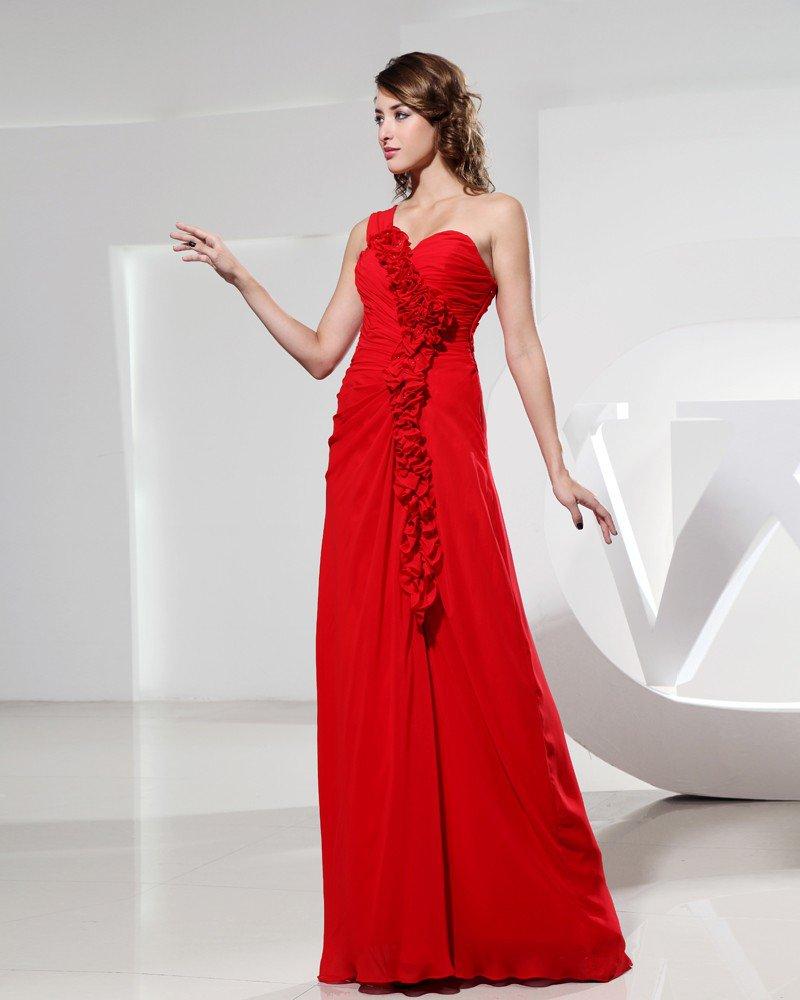 Sweetheart Flower Ruffle Sleeveless Backless Empire Floor Length Chiffon Silk Woman Evening Party Dr